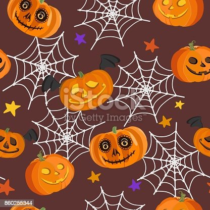 Vector pattern with bright different laughing pumpkins, white spider web and multicolored stars on dark background for Halloween. Suitable as design for packaging paper, festive background, textiles.