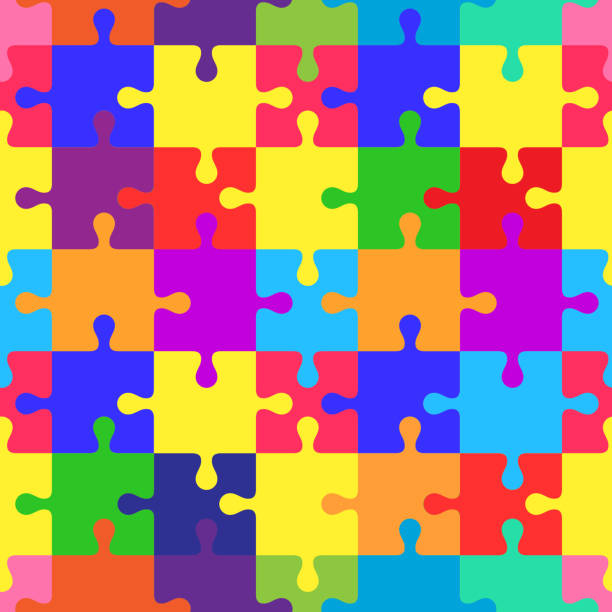 Seamless pattern with puzzles Seamless colorful pattern with puzzles, jigsaw, children's pattern autism stock illustrations