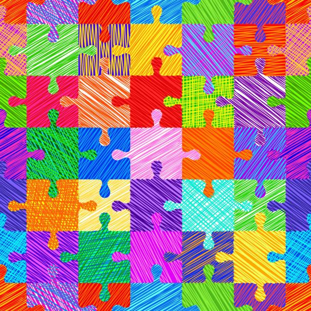 ilustraciones, imágenes clip art, dibujos animados e iconos de stock de patrón sin fisuras con rompecabezas - autism