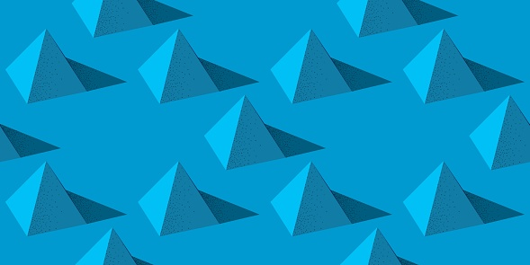 Seamless pattern with pyramid shape on blue background in modern dotted texture style