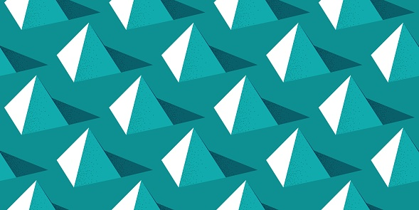 Seamless pattern with pyramid shape on green background in modern dotted texture style