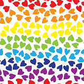 Seamless pattern with rainbow color hearts on white background. Vector design for textile, backgrounds, clothes, wrapping paper, web sites and wallpaper. Fashion illustration seamless pattern.