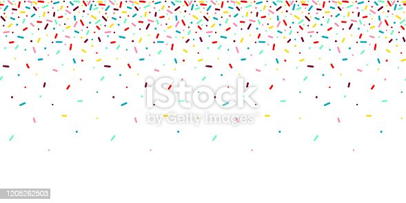 istock Seamless pattern with rainbow, colorful falling decorative sprinkles banner background. Vector donut glaze pastry elements 1205262503
