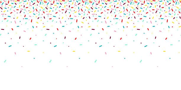 stockillustraties, clipart, cartoons en iconen met naadloos patroon met regenboog, kleurrijke vallende decoratieve hagelslag banner achtergrond. vector donut glazuur deegelementen - confetti