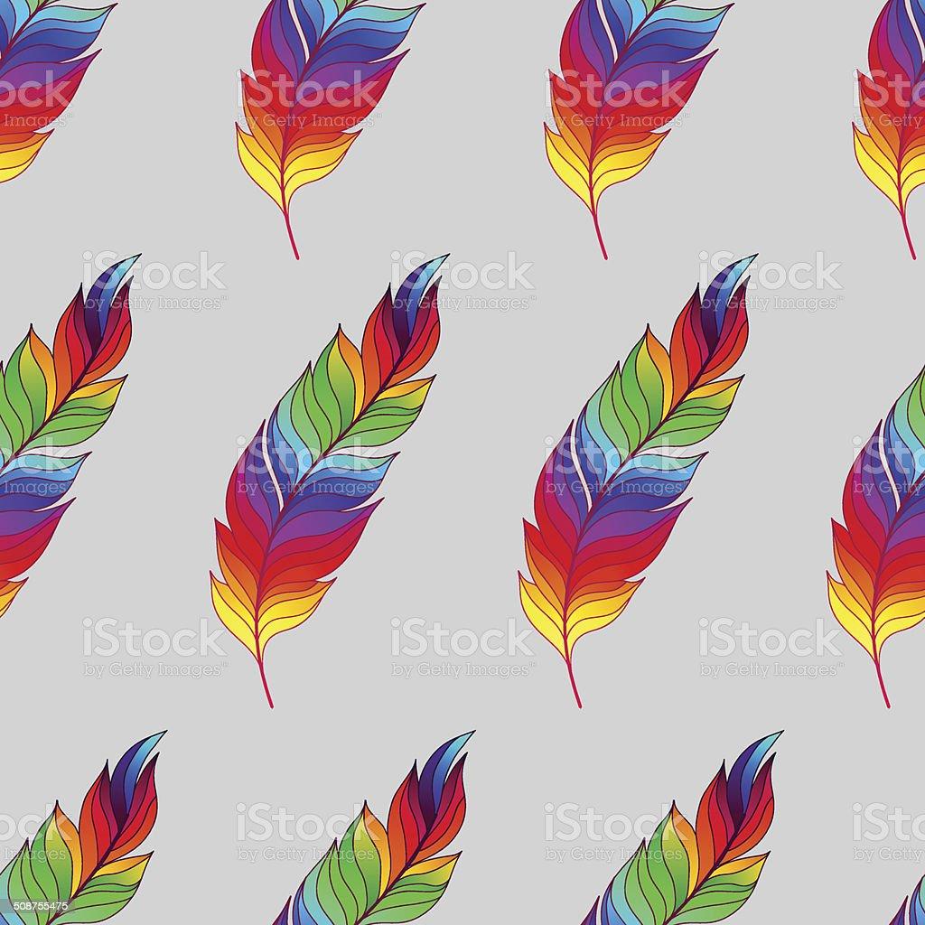 Patrón Sin Costuras Con Rainbow Feathers - Arte vectorial de stock y ...