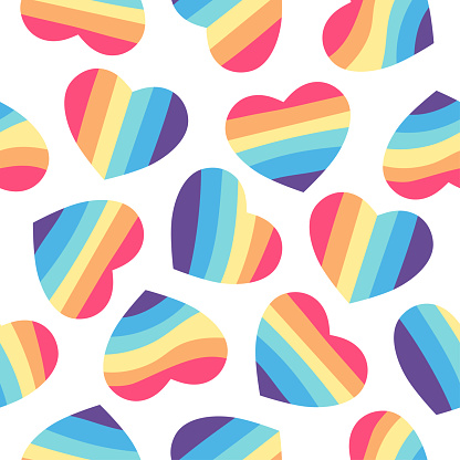 Seamless pattern with rainbow hearts. LGBT theme