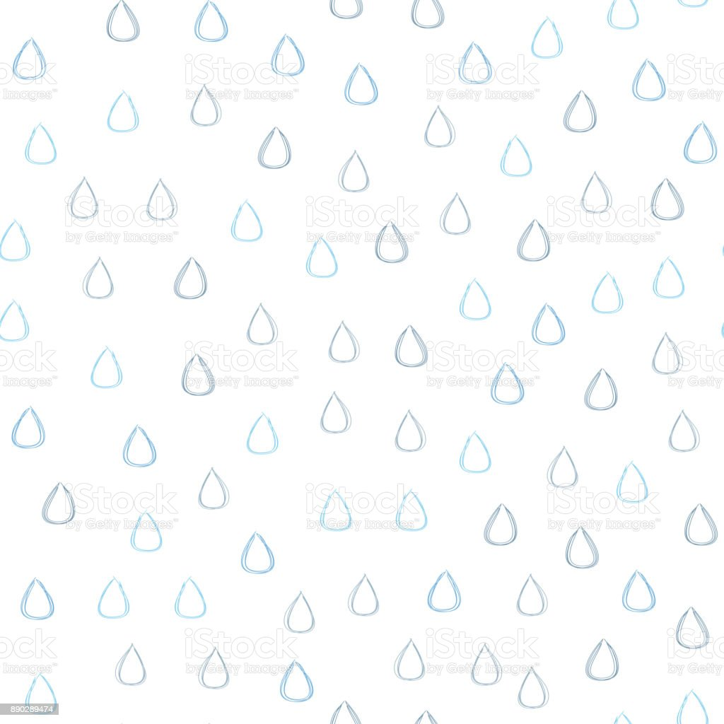 Seamless pattern with raindrops. Rain drops drawn by hand. Sketch, doodle. vector art illustration