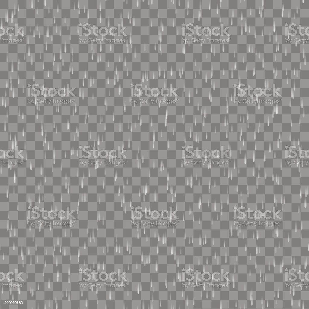 Seamless pattern with raining on transparent background. Vector. vector art illustration