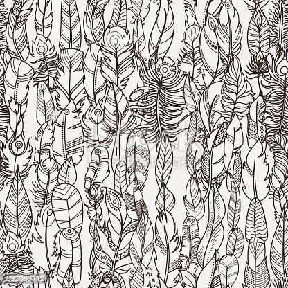 Ilustración de Patrón Transparente Con Plumas De Fantasía Al Azar ...