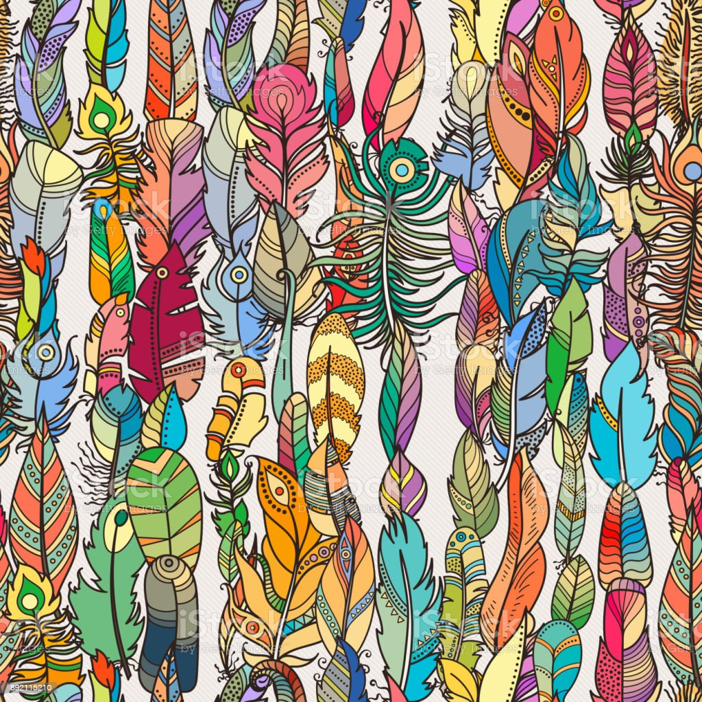 Seamless Pattern With Random Fantasy Feathers For Wallpaper Web Page ...