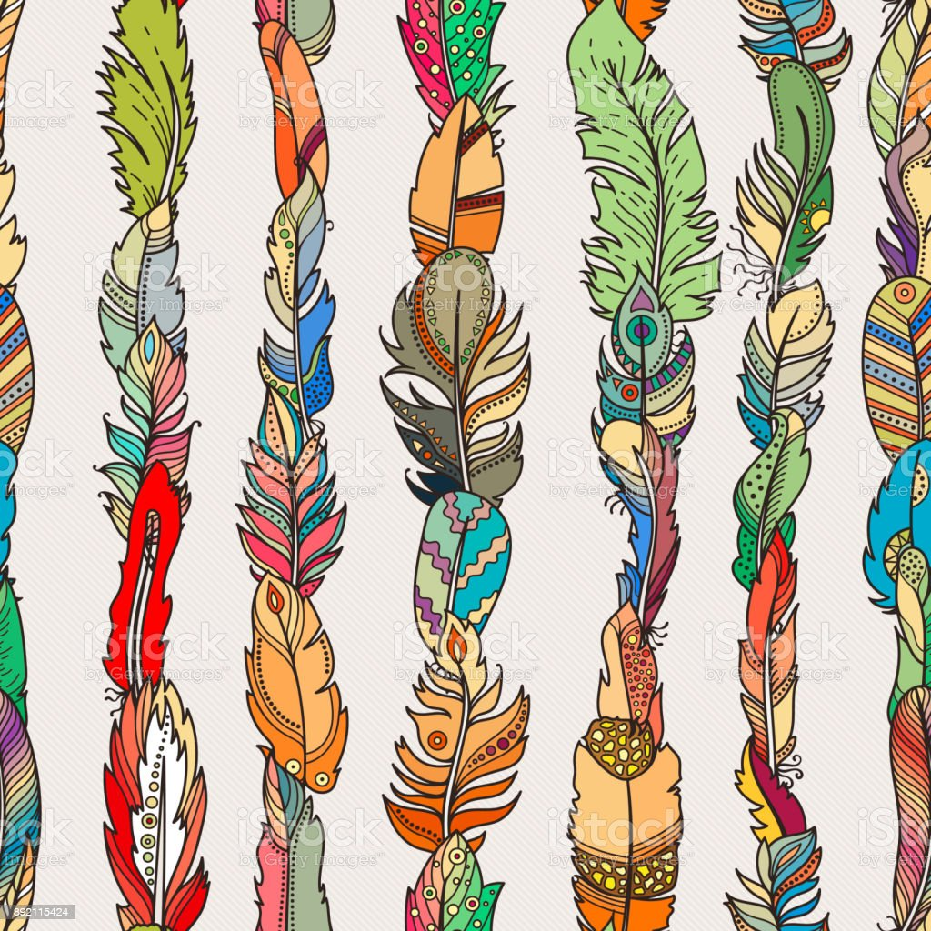 seamless pattern with random fantasy feathers for wallpaper web page vector id
