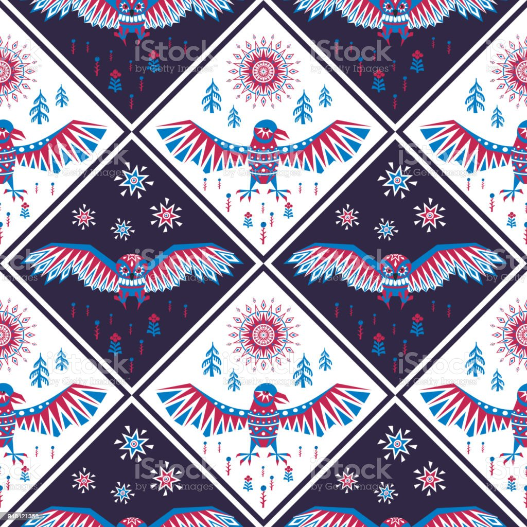 seamless pattern with raven and owl vector art illustration