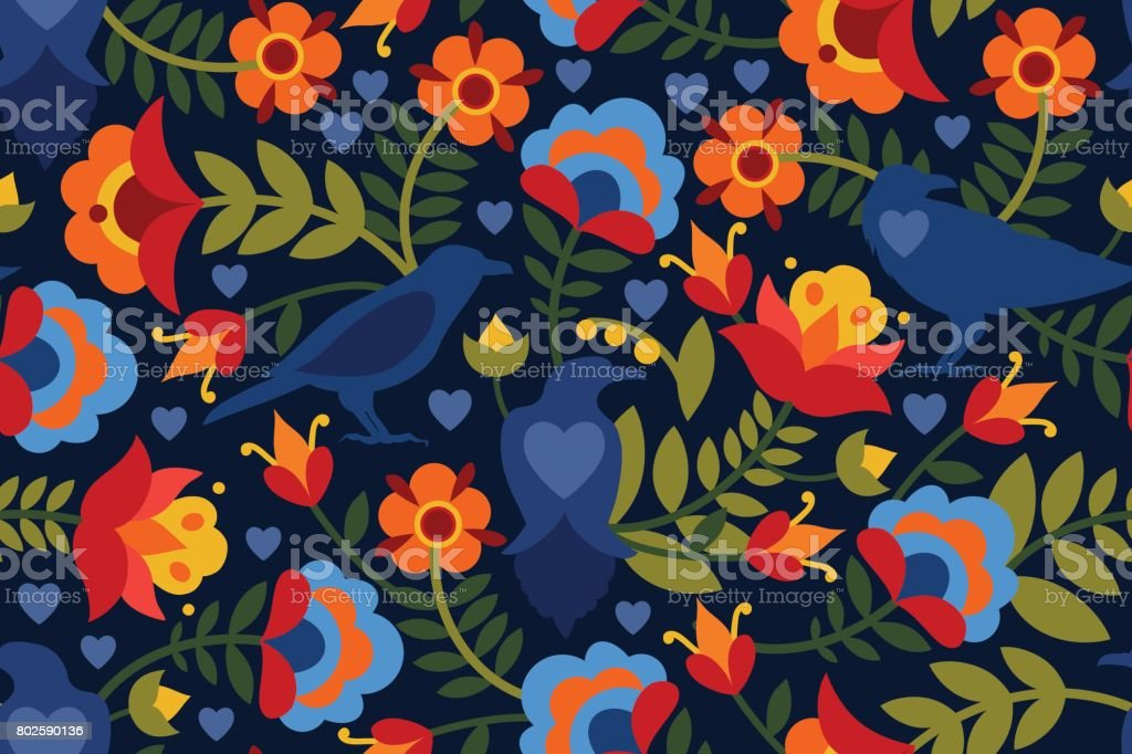 Seamless Pattern With Raven Symbols Of The Heart And Flowers