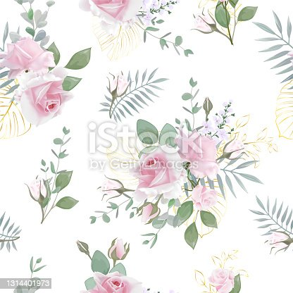 istock Seamless pattern  with realistic bouquets Rose flower. 1314401973