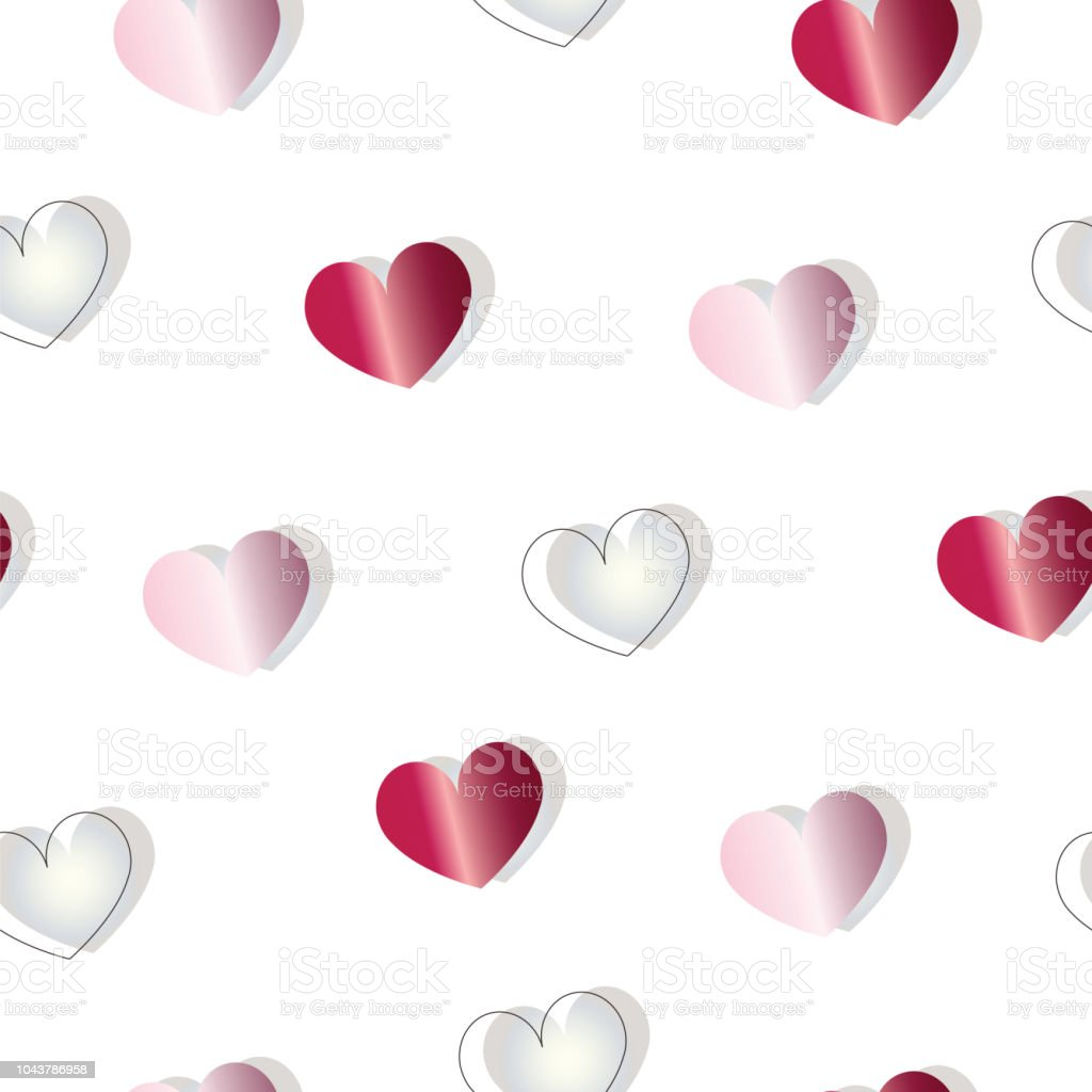Seamless Pattern With Red And Pink Hearts Vector Valentines Day