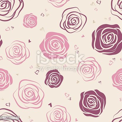Seamless pattern with red and pink outline roses on white background. Vector illustration.
