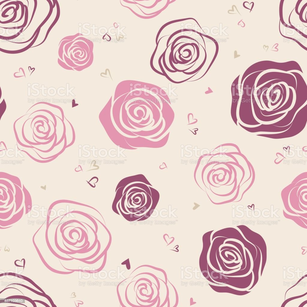Seamless pattern with red and pink outline roses on white background. Vector illustration. vector art illustration