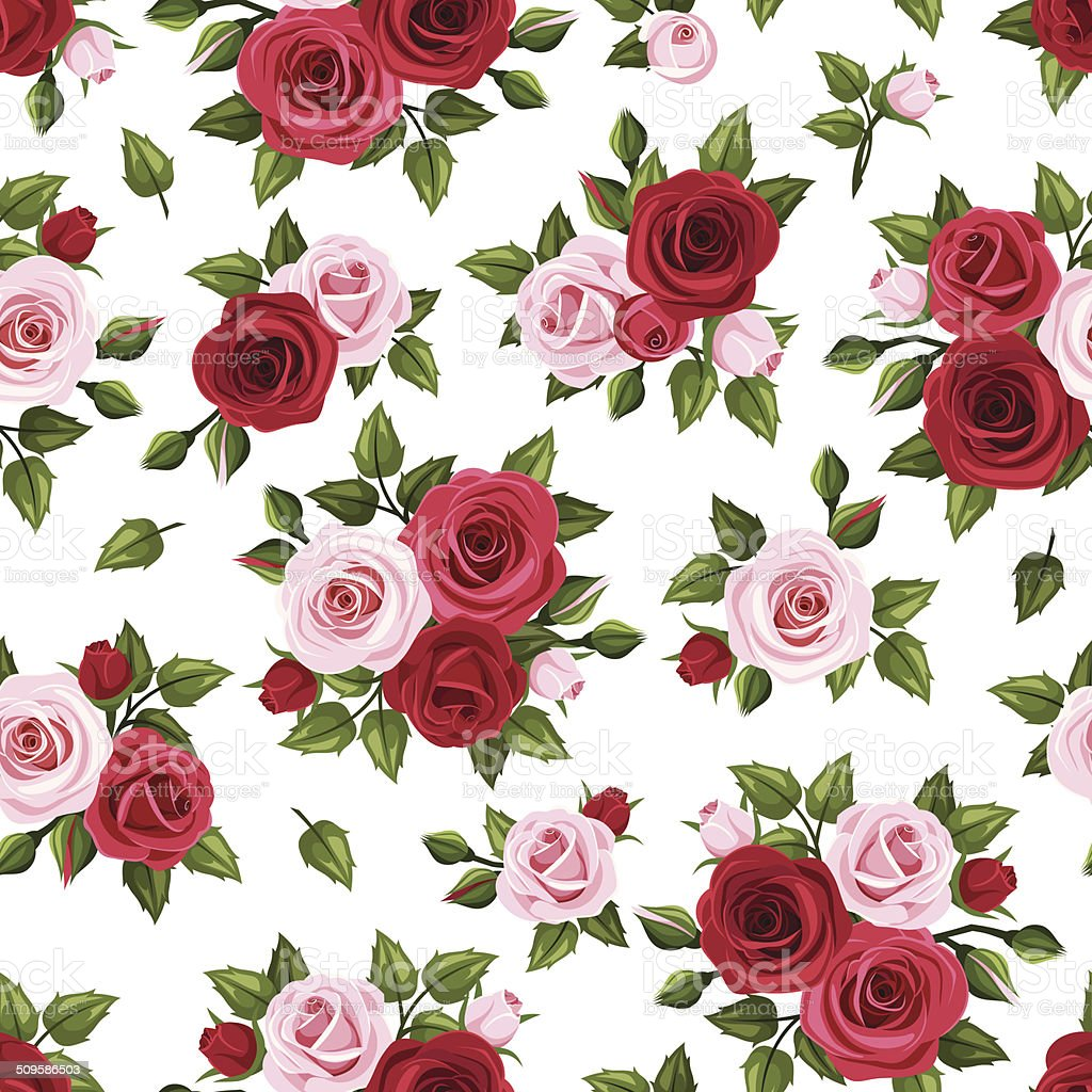 Seamless pattern with red and pink roses on white. Vector. vector art illustration