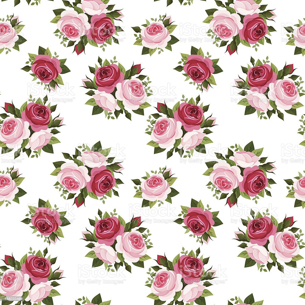 Seamless pattern with red and pink roses. Vector illustration. royalty-free seamless pattern with red and pink roses vector illustration stock vector art & more images of antique