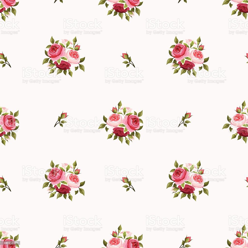 Seamless pattern with red and pink roses. Vector illustration. vector art illustration