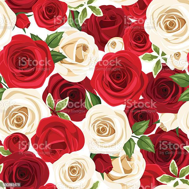 Seamless pattern with red and white roses vector illustration vector id530393475?b=1&k=6&m=530393475&s=612x612&h=kvj0v7kw1n1w8btj31vgrrhs5hvui7wo2ybqcjxrehg=