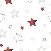 seamless pattern with red and white stars vector - white background