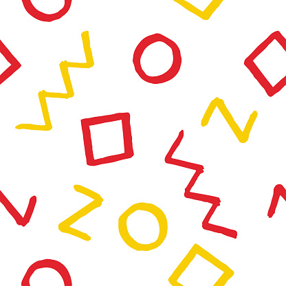 Seamless pattern with red and yellow geometric elements on white background. Hand drawn vector design for textile, backgrounds, clothes, wrapping paper and wallpaper. Fashion pattern.