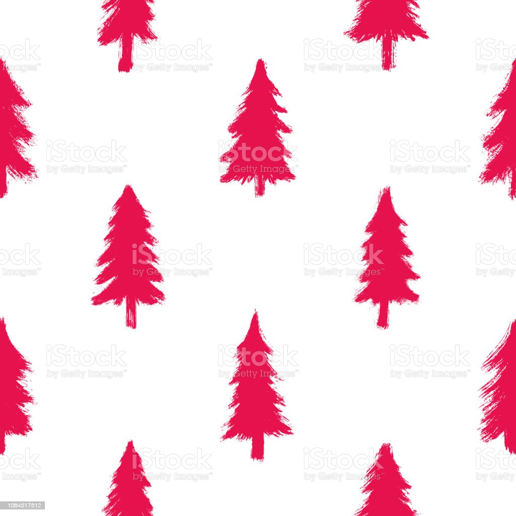 seamless pattern with red christmas trees isolated on white