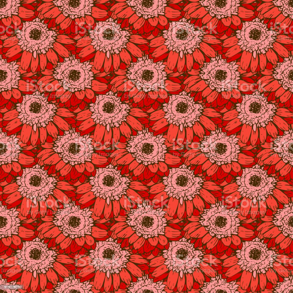 Seamless Pattern With Red Daisies Flower Vector Set Of Blooming ...