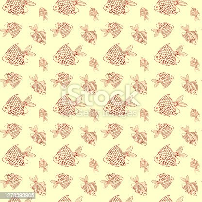 Seamless pattern with red fish on yellow background.