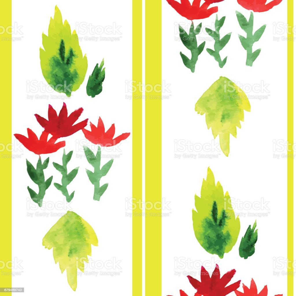 Seamless pattern with red flowers and leaves 免版稅 seamless pattern with red flowers and leaves 向量插圖及更多 大自然 圖片