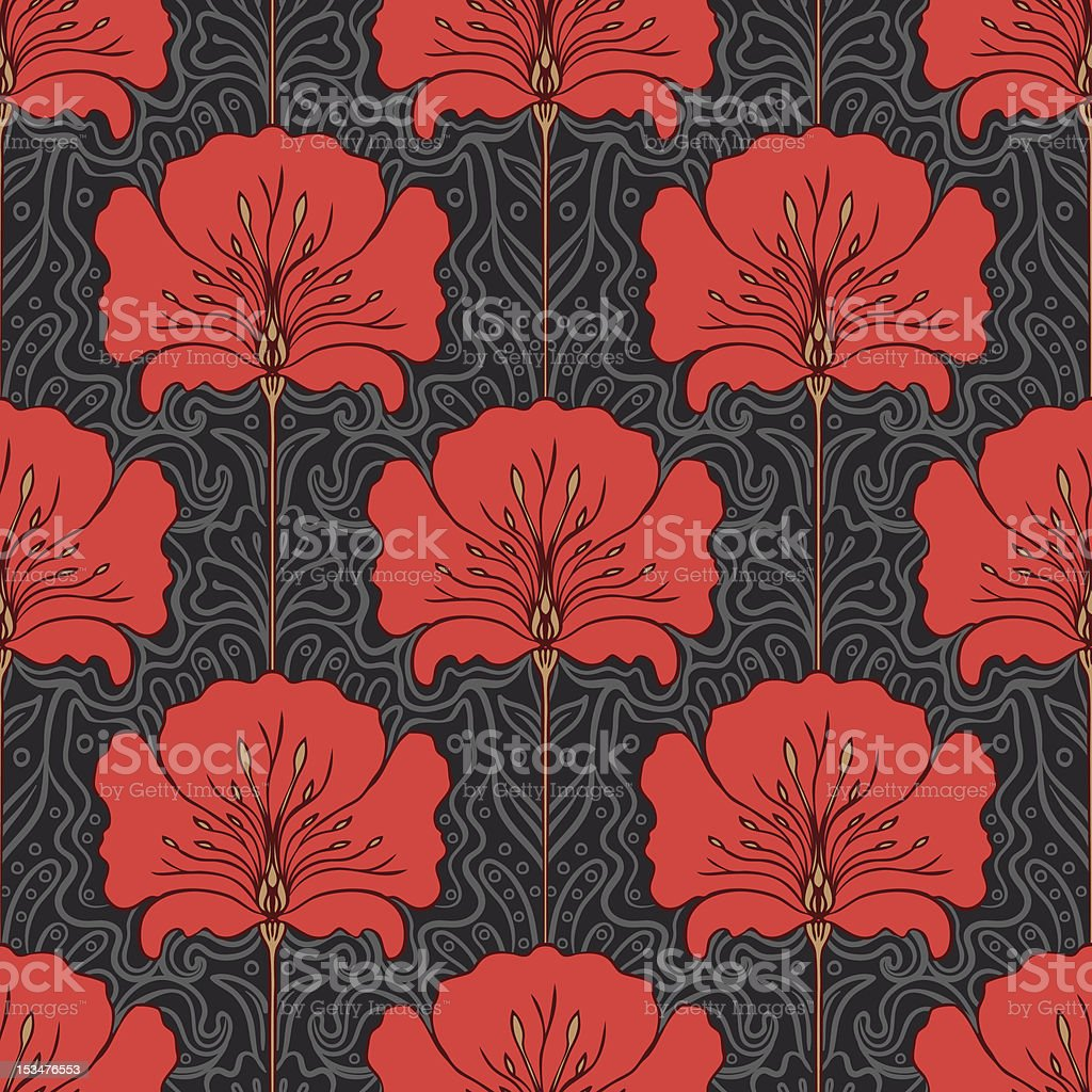 Seamless pattern with red flowers on gray background vector art illustration