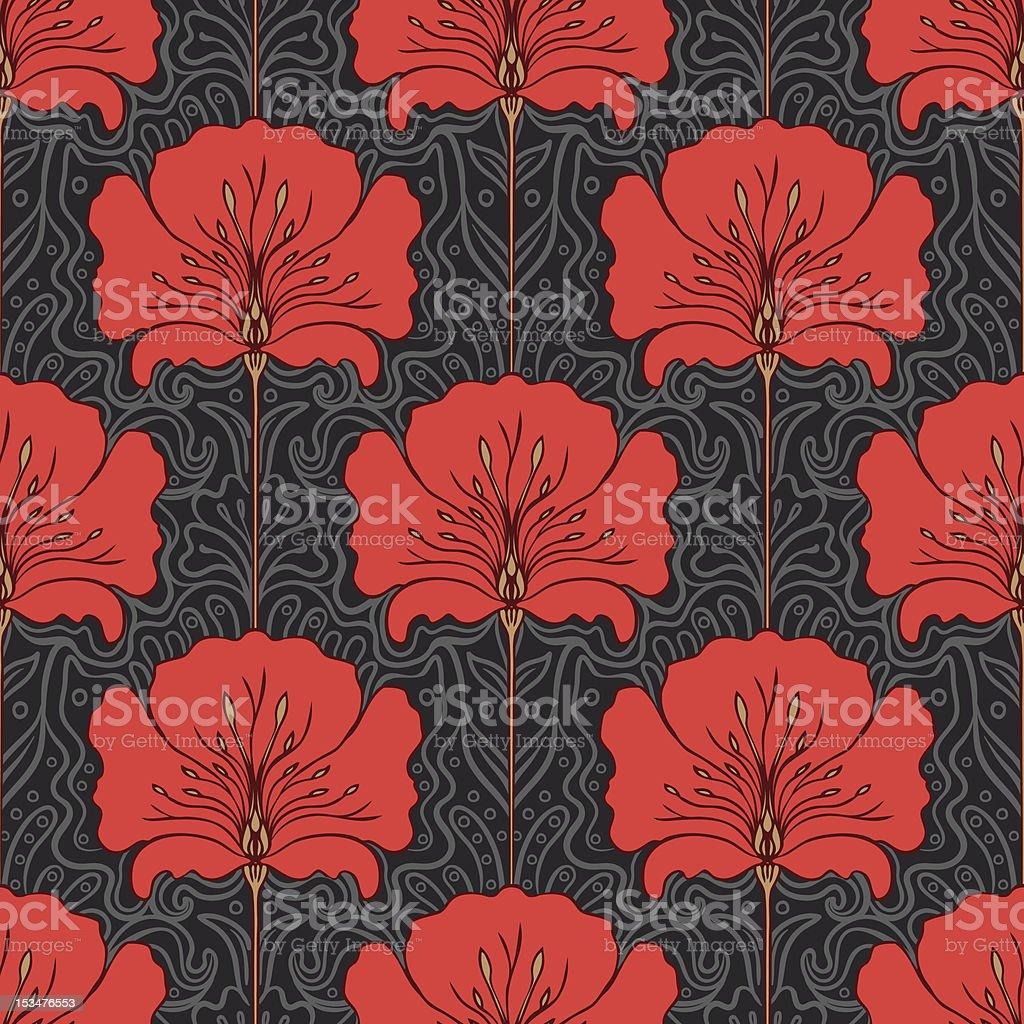シームレスパターンと灰色の背景上に赤い花 ベクターアートイラスト