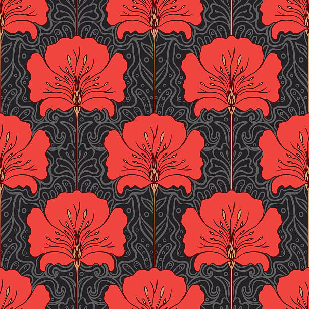 seamless pattern with red flowers on gray background - art nouveau stock illustrations, clip art, cartoons, & icons