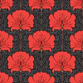 Seamless pattern with red flowers on gray background