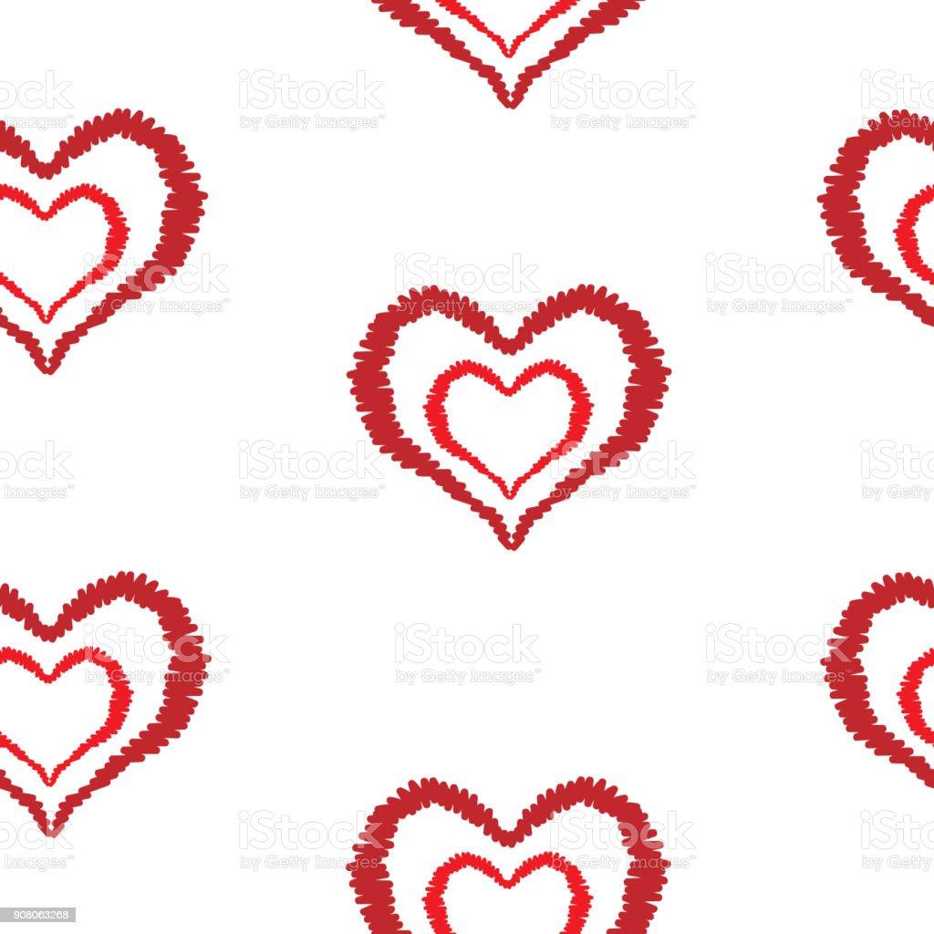 Ilustración de Patrón Sin Fisuras Con Corazón Rojo Bordado Puntadas ...
