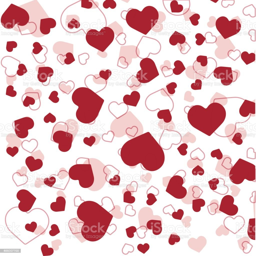Seamless pattern with red hearts on white background. Vector vector art illustration