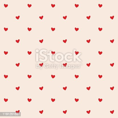 istock Seamless pattern with red hearts. Romantic creamy peach background for textile, wallpaper, fabric, design. Vector illustration. 1191251531