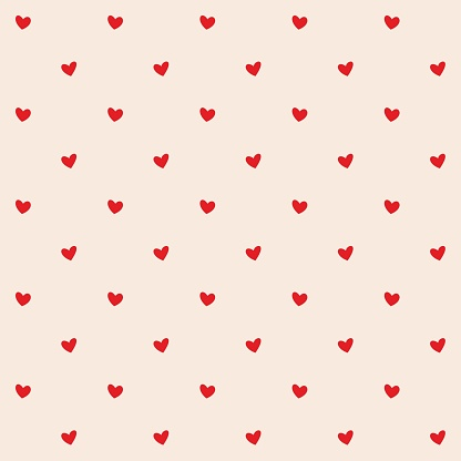 Seamless pattern with red hearts. Romantic creamy peach background for textile, wallpaper, fabric, design. Vector illustration.