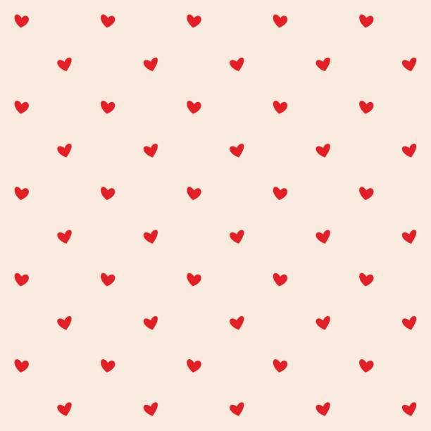 bezszwowy wzór z czerwonymi sercami. romantyczne kremowe tło brzoskwini dla tekstyliów, tapet, tkanin, wzornictwa. ilustracja wektorowa. - kartka na walentynki stock illustrations
