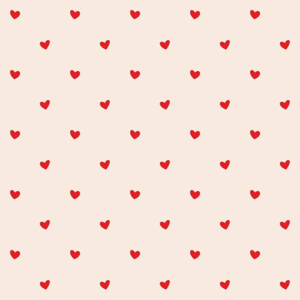 seamless pattern with red hearts. romantic creamy peach background for textile, wallpaper, fabric, design. vector illustration. - valentines day stock illustrations