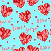 Seamless pattern with red hearts, Valentine's day print, Inscription - I love you, Vector image in doodle style, Hand draw, Valentine's day wrapper.