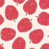 Seamless Pattern with Ripe Red Lychee on Light Pink Background