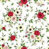 Seamless pattern with red, pink and white flowers. Vector illustration.