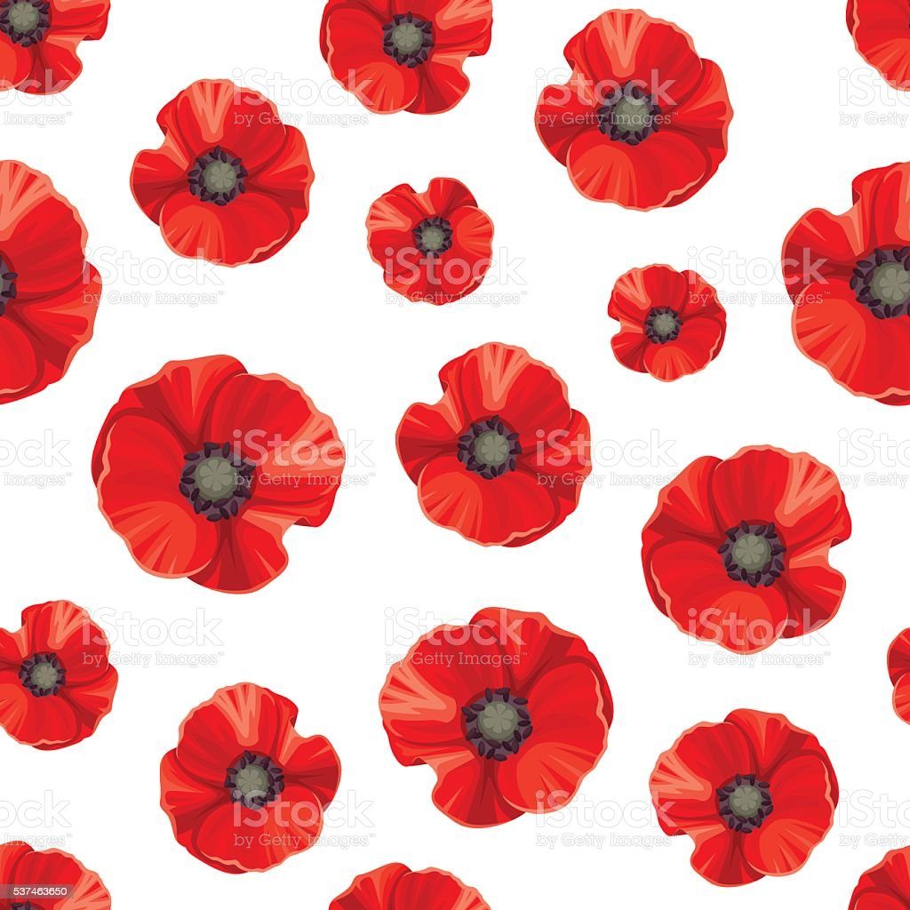 Seamless pattern with red poppies. Vector illustration. vector art illustration
