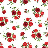 Seamless pattern with red roses branches. Vector illustration.