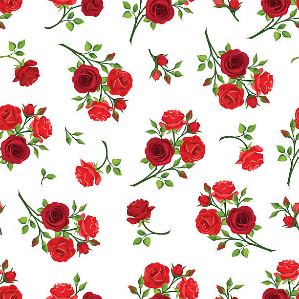 Seamless pattern with red roses branches. Vector illustration. – Vektorgrafik