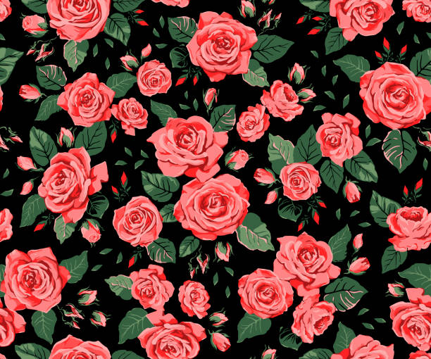 seamless pattern with red roses on a black background - floral pattern stock illustrations, clip art, cartoons, & icons