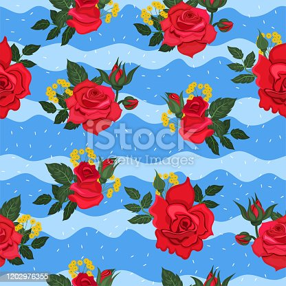 Seamless pattern with red roses on a blue background with waves. Vector graphics.