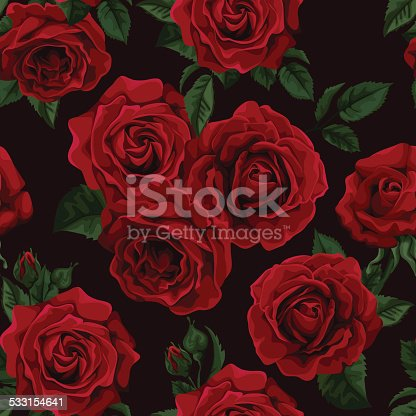 istock Seamless Pattern with red roses 533154641